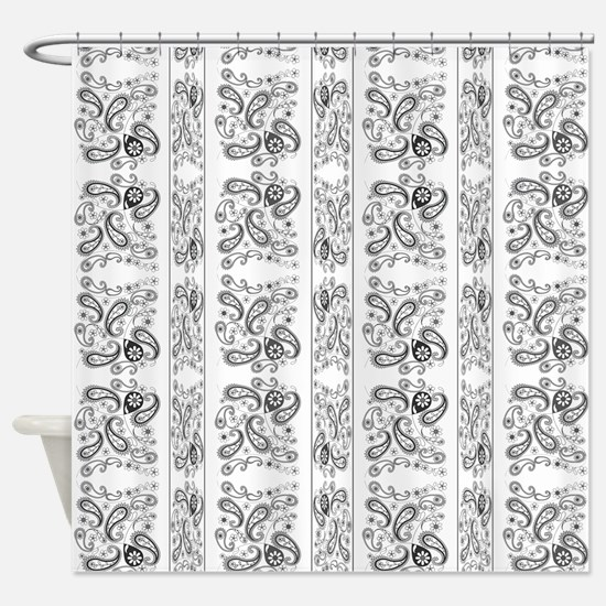 Cute Black And White Paisley Shower Curtain 4995 6499 Temporarily Out Of Stock B W