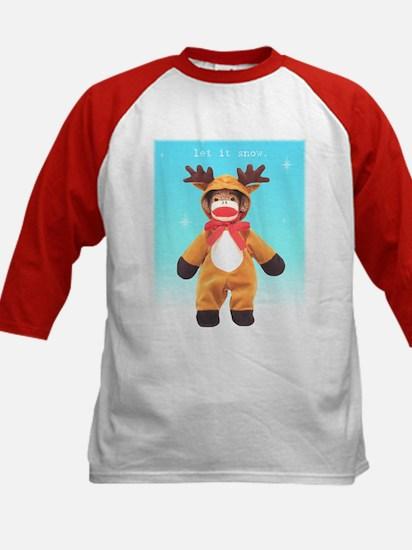 Reindeer Sock Monkey Kids Baseball Jersey