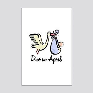 Due In April Stork Mini Poster Print