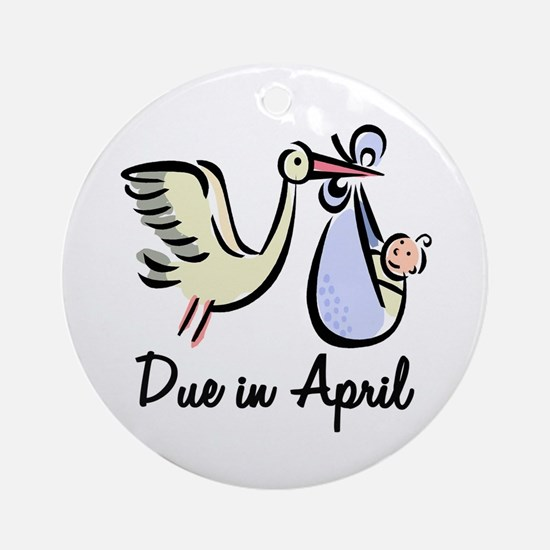 Due In April Stork Ornament (Round)