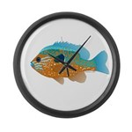 Longear Sunfish fish 2 Large Wall Clock