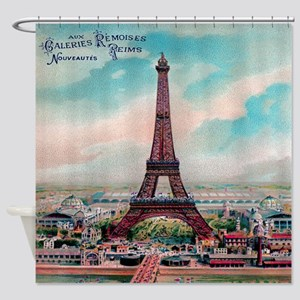 Vintage Colorful Eiffel Tower Shower Curtain