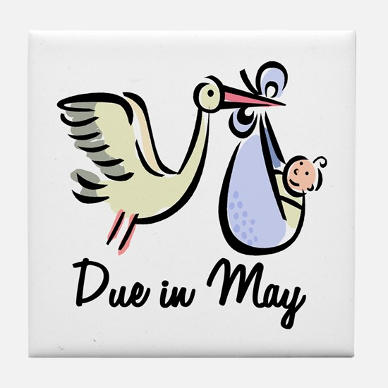 Due In May Stork Tile Coaster