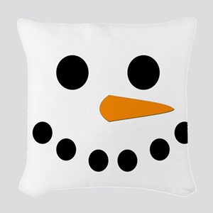 Snowman Face Woven Throw Pillow