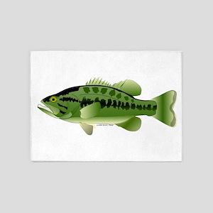 Largemouth Bass fish v2 5'x7'Area Rug