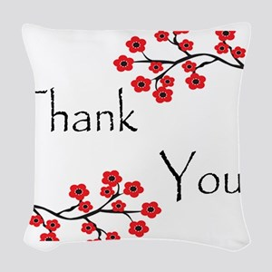 Red Cherry Blossoms Thank You Woven Throw Pill