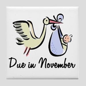 Due In November Stork Tile Coaster