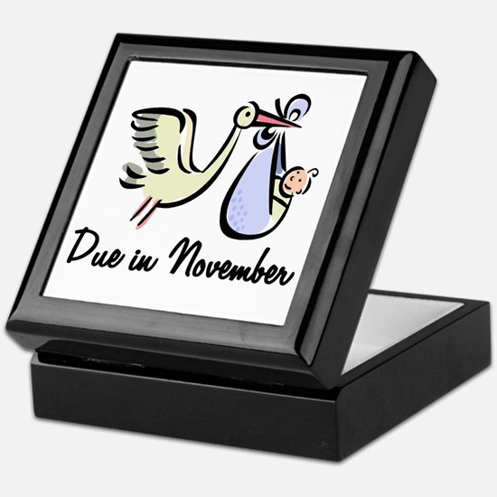 Due In November Stork Keepsake Box
