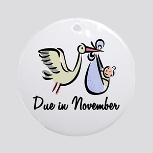 Due In November Stork Ornament (Round)
