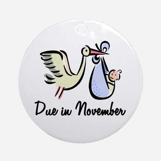 Due In November Stork Ornament (Round)