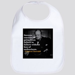 Winston Churchill on Sucess over failure Bib