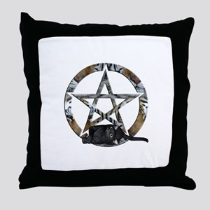 Wiccan Pentacle With Black Cat Throw Pillow