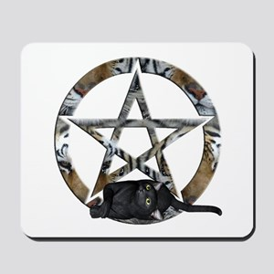 Wiccan Pentacle With Black Cat Mousepad