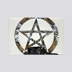Wiccan Pentacle With Black Cat Rectangle Magnet