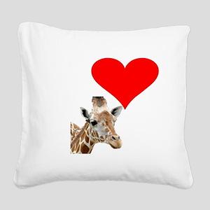 i love giraffe Square Canvas Pillow