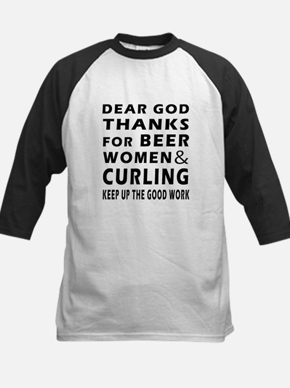 Beer Women And Curling Kids Baseball Jersey