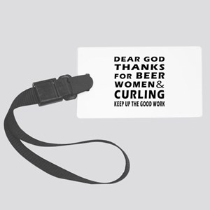 Beer Women And Curling Large Luggage Tag