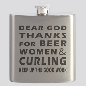 Beer Women And Curling Flask