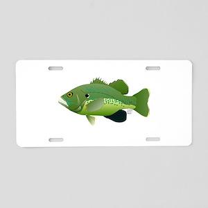 Green Sunfish fish v2 Aluminum License Plate