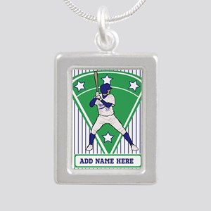 Personalized Blue Baseball star player Necklaces