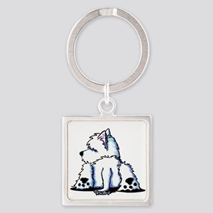 Cool Belly Westie Square Keychain
