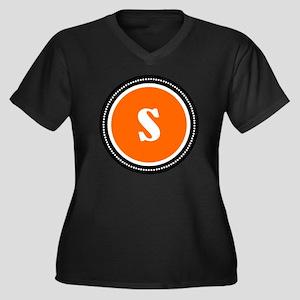 Orange Women's Plus Size V-Neck Dark T-Shirt
