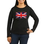 Britain British Flag Women's Sleeved Brown Shirt