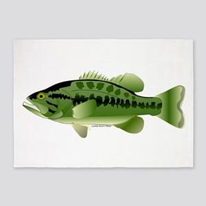 Largemouth Bass (Black Bass Family) 5'x7'Area Rug