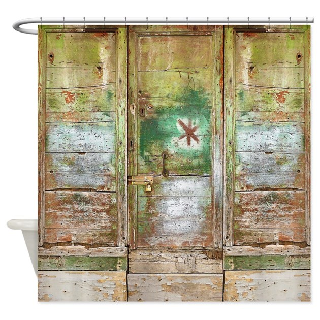 rustic bathroom shower curtains rustic distressed green doors shower curtain by rebeccakorpita 20271