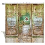 Rustic Distressed Green Doors Shower Curtain