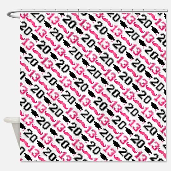 Pink Mustache Grad 2013 Shower Curtain