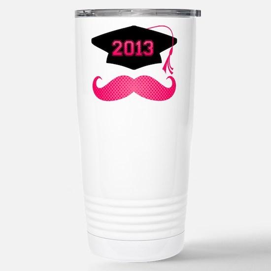 Pink Mustache Grad 2013 Stainless Steel Travel Mug