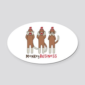 Monkey Business Oval Car Magnet