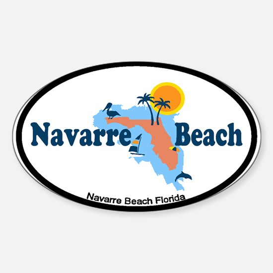 Navarre Beach - Map Design. Sticker (Oval)