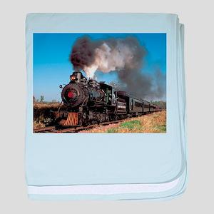 Antique steam engine train baby blanket