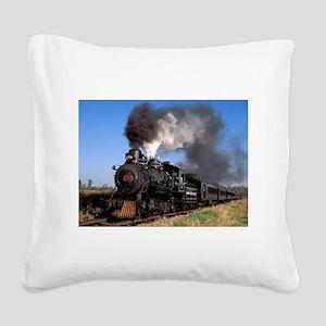 Antique steam engine train Square Canvas Pillow