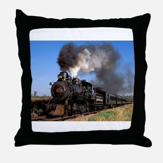 Antique steam engine train Throw Pillow