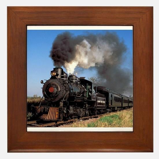 Antique steam engine train Framed Tile