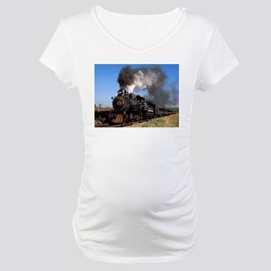 Antique steam engine train Maternity T-Shirt