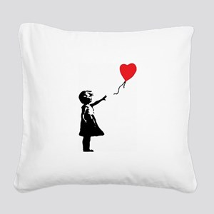 Banksy - Little Girl with Ballon Square Canvas Pil
