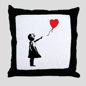 Banksy - Little Girl with Ballon Throw Pillow