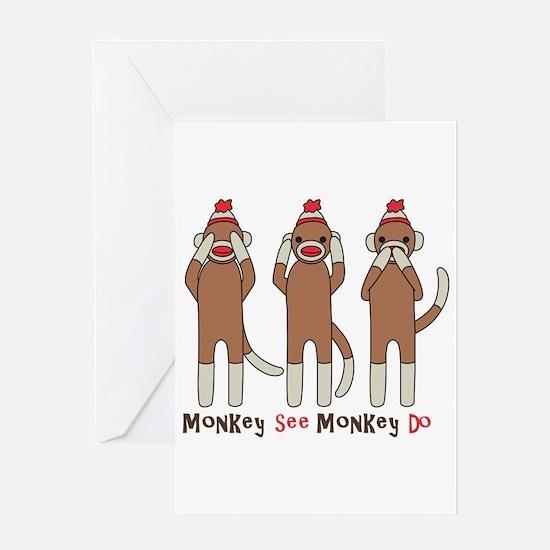 Monkey See Monkey Do Greeting Card