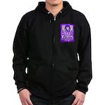 Hope Butterfly Pancreatic Cancer Zip Hoodie (dark)