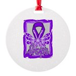 Hope Butterfly Pancreatic Cancer Round Ornament
