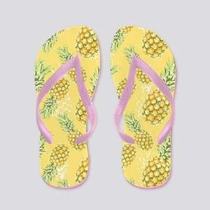 Tropical Pineapple on Pastel Yellow Flip Flops