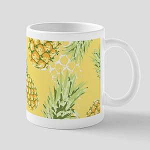 Tropical Pineapple on Pastel Yellow Mug