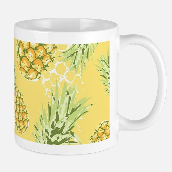 Tropical Pineapple on Pastel Yellow Mug