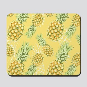Tropical Pineapple on Pastel Yellow Mousepad