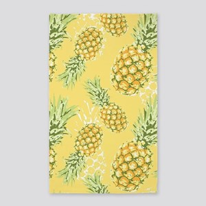 Tropical Pineapple on Pastel Yellow Area Rug