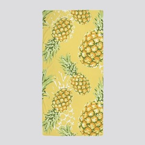 Tropical Pineapple on Pastel Yellow Beach Towel